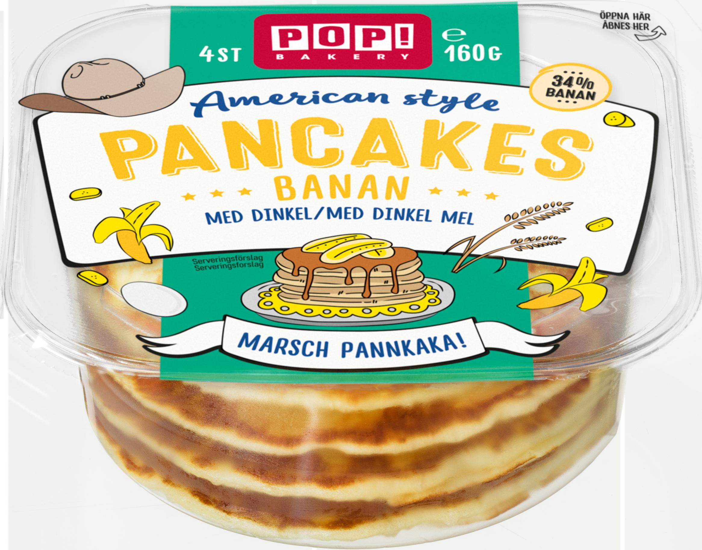 Pop! Bakery amerikanska pannkakor med banan